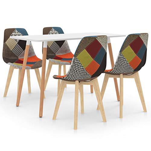 vidaXL Essgruppe 5-TLG. Esszimmergruppe Esstischset Tischset Sitzgruppe Esszimmertisch Esstisch mit 4 Stühlen Küchentisch Esszimmergarnitur Mehrfarbig