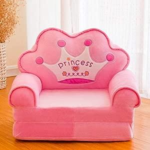 Htimer Children s Folding Small Sofa Cartoon Cute Boy Detachable Baby Lazy Girl Princess Single Chair  Pink Crown  Folding