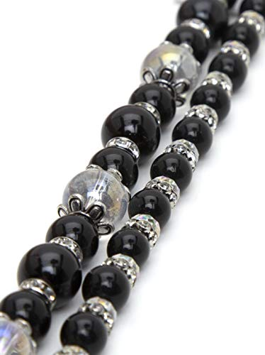 Cousin DIY 63500325 Pearl Glass Bead Strand, Black, Clear