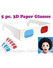 Gadget Hero's 3D Paper AnaGlyph Glasses (Red/Blue), Pack of 5