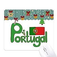 ポルトガルの国旗の緑のパターン ゲーム用スライドゴムのマウスパッドクリスマス