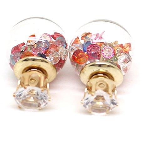 Doppel-Ohrstecker Glaskugel und Strass Front-Back-Ohrringe in verschiedenen Farben von Meiner Glitzerwelt (mulitcolor)