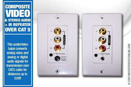 Composite Video, Stereo Audio PLUS IR Repeater over cat 5 Wall Plate - Audio Video Balun