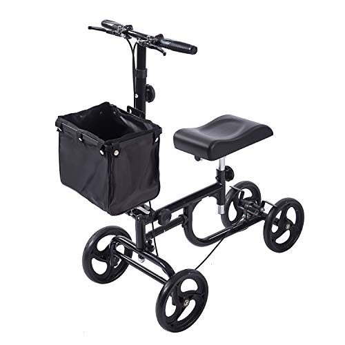 ELENKER Steerable Knee Walker Deluxe Medical Scooter for Foot Injuries Compact Crutches Alternative Black