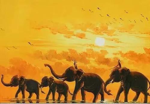 qianyuhe Impresión en Lienzo imágenes artísticas de Pared Elefante Africano película artística impresión de Seda póster decoración de la Pared del hogar 60x90cm (24x36 Pulgadas