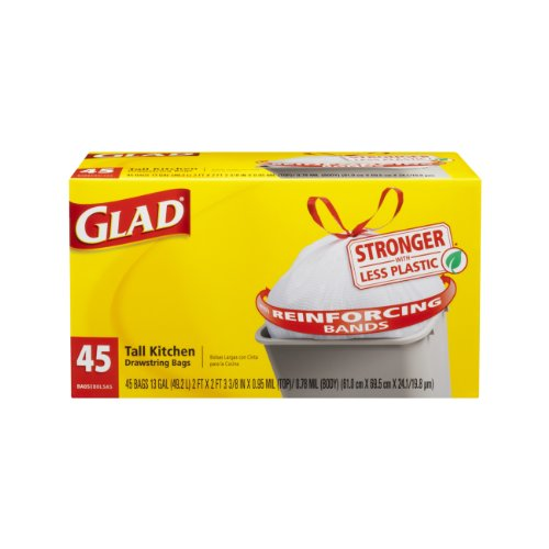 Glad Tall Kitchen Drawstring Trash Bags - OdorShield 13 Gallon Grey Bag - 45 Count