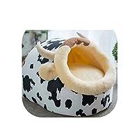 取り外し可能な猫のベッドの家の犬小屋の巣ペット巣くず犬の犬小屋のソファの家のクッション動物用品猫ペット製品子猫のベッド、白、S