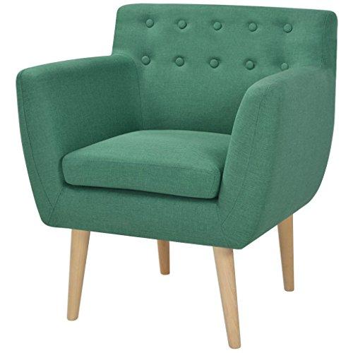 Festnight Sillón Color de Verde Material de Tela y Madera, 67x59x77 cm