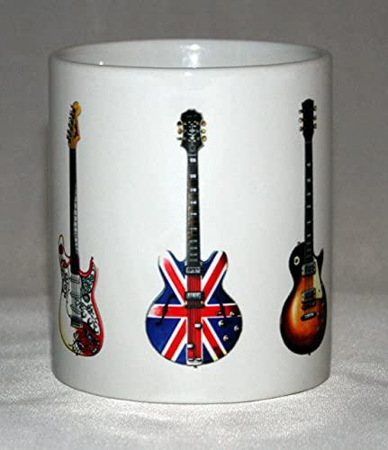 Taza de guitarra eléctrica. 5 Guitarras famosa roca. Ilustraciones de SG, Fender,...