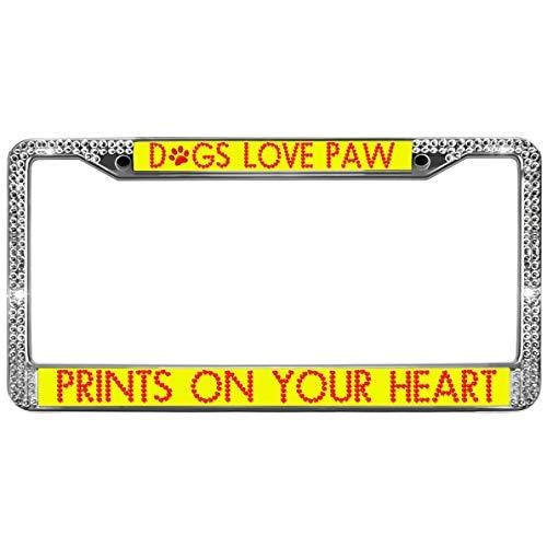 Dant454ty Grappige Honden Liefde PAW Prints Op Uw Hart Auto Licentie Plaat Covers Chroom Metaal Auto License Plaat Frame
