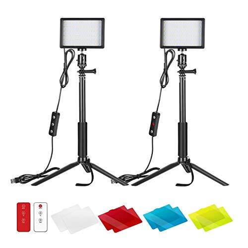 Neewer 2 Packs Verbessertes LED Videolicht mit 433Hz Fernbedienungsset Dimmbares 5600K USB Videolicht mit StativstanderFarbfiltern fur Tischneidrige Winkelaufnahmen YouTube Portratfotografie