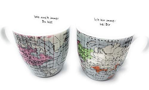 Jumbobecher Weltreise 2 er Set mit Spruch je 600 ml Partner Tasse World Landkarte Weltkarte