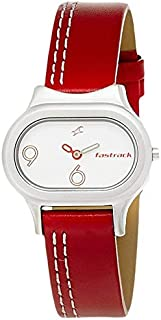 Fastrack Neon Women's White Dial Leather Band Watch - T2394SL01