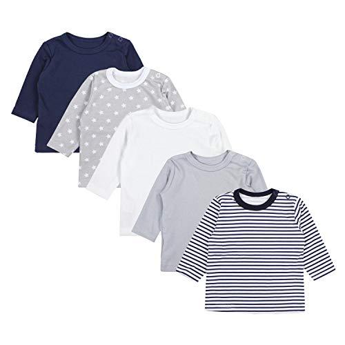 TupTam Camiseta Manga Larga para Bebé Niño, Pack de 5, Mix de Colores 1, 92