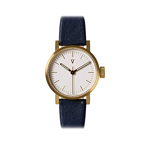 V03P Petite Small Analog Watch by Void Watches (Style: cuerpo de Goldenes Mate & Esfera Blanca/royalblaues banda)