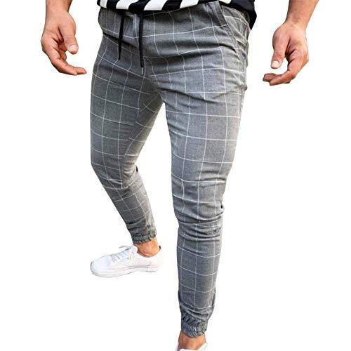 Huaheng Hombre Casual Estrecho Running Pantalón de Chándal Ajustado Chándal Deporte Sudor Cuadros Pantalones - Gris Claro, 2XL