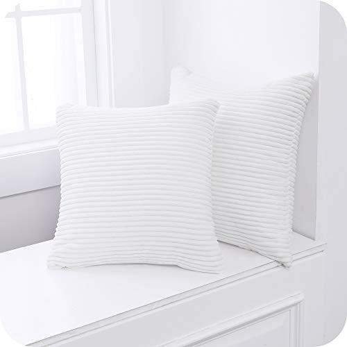 Amazon Brand – Umi Funda de Cojin Decoracion para Salon Suave 2 Piezas 50x50cm Blanco