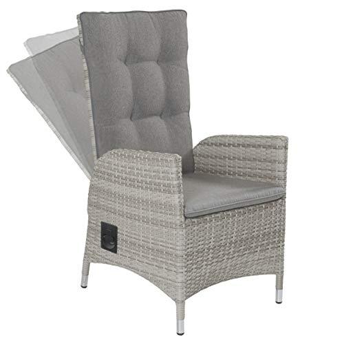 LC Garden Gartenstuhl Gartensessel Positionsstuhl Verstellsessel Roma Dining grau Polyrattan Aluminium mit Auflage