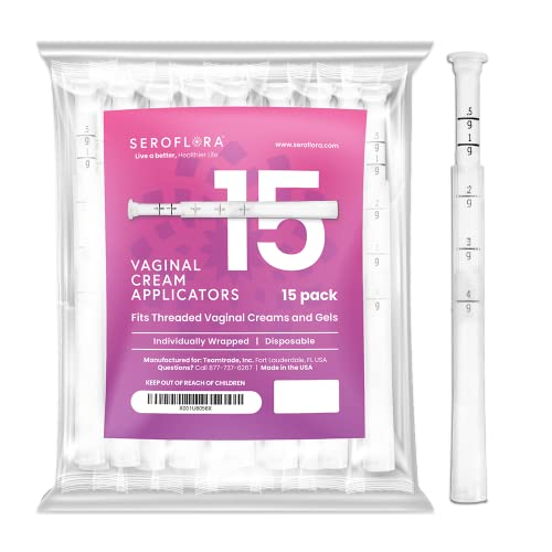 Seroflora Disposable Vaginal Applicators for Women (15ct.) - Vaginal Applicator for Cream, Preseed Fertility Lube & Preseed Lubricant Gel 15 Pack - Threaded End, & Comfort Tip - Mess Free Application