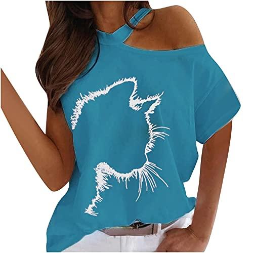AMhomely Camisas y blusas para mujer con estampado de cuello redondo, informal, holgado, para gato, manga corta, blusa para oficina, talla británica