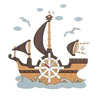 XXT ウォールクロッククリエイティブデコレーション海賊船のテーマウォールミュートシンプルMDFクォーツ時計 ファッション