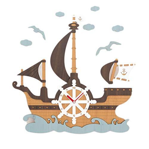 TXXM wandklokken muur klok creatieve decoratie piraat schip thema muur mute eenvoudige MDF kwarts klok