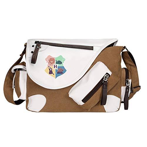 Fashionable Multi-Pocket Messenger Bag Canvas School Bag Shoulder Bag Suitable For Boys Girls And Students Medium Brown