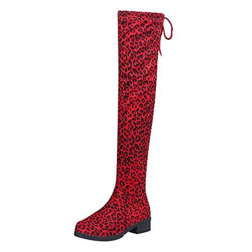 Vovotrade Dameslaarzen Overknees Flandell vrouwen wildleder luipaardpatroon ronde kant hoge laarzen Overknee-Schoenen laarzen 36-42 EU \ <br>