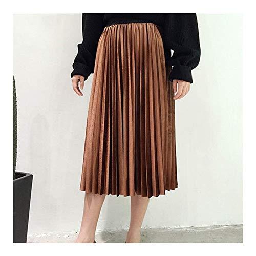 Falda plisada vintage de color caqui sólido de cintura alta para mujer, falda plisada para otoño e invierno, falda plisada para mujer (color: marrón, talla: talla única)