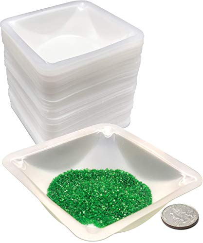 Pure Ponta Weigh Boats Medium | 125 Pack 100ml Weighing Boats Measuring & Mixing Powders & Liquids with Easy Pour Design | (3.5 x 3.5 x 1 in) Disposable Plastic Square Lab Dish Scale Tray