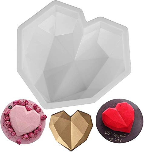 HHYSPA 3D Silicone Large Heart Shape Cake Mould Geometric Baking Mold Tool Chocolate, for 3D Mousse Kitchen DIY Baking Tools