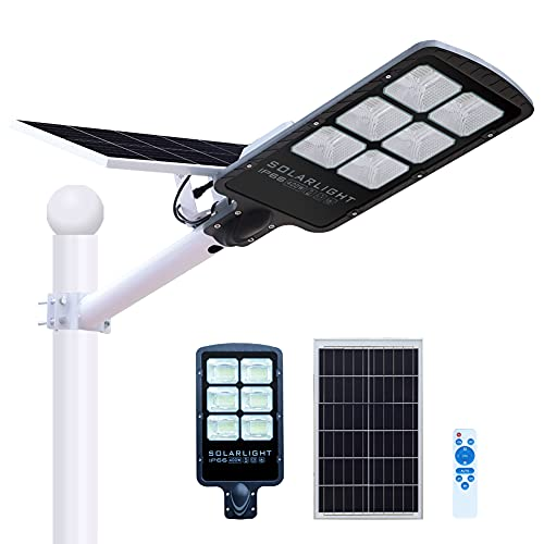 CILU SUM 400W Solar Street Lights Outdoor Lamp,36000 Lumens Daylight Solar Led Light with Remote Control,Dusk to Dawn Solar Security Flood Lights for Yard, Street, Basketball Court, Parking lots,Garde