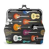 Billetera de Cuero Color Guitarras acústicas y eléctricas Hebilla Monederos Monedero Vintage Bolsa de Cambio de Beso con Cerradura