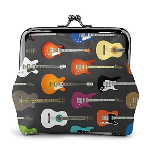 Billetera de Cuero Color Guitarras acústicas y eléctricas Hebilla Monederos Monedero Vintage...