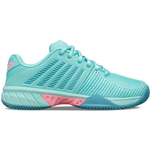 K-Swiss Performance Express Light 2 HB, Zapatillas de Tenis para Mujer, Azul (Aruba Blue/Maui Blue/Soft Neon Pink 436), 41 EU