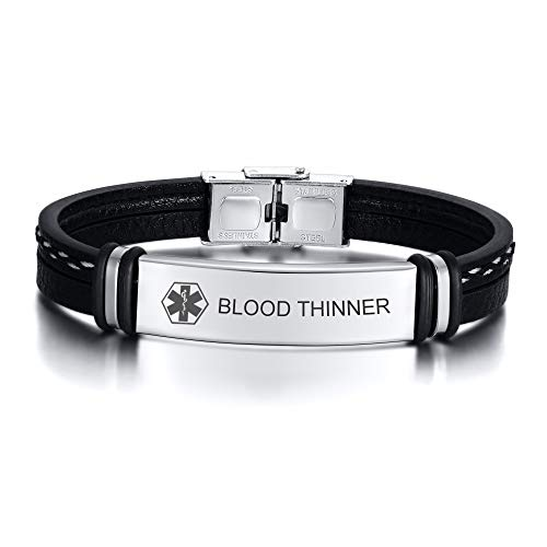 BLOOD THINNER- Engraved Stainless Steel With Leather Handmade Medical Alert ID Plated bracelet For Mens Teens,Adjustable,Customised Identification Wristband bracelet For His,8.3 Inches,Silver
