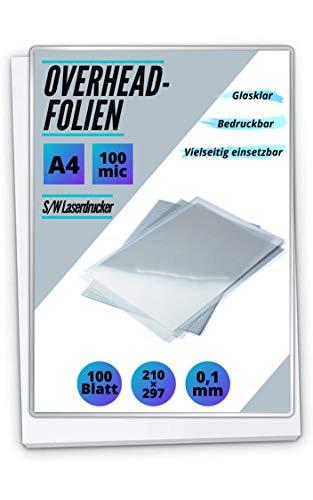 100 OHP-Folien A4 für Laserdrucker und S/W-Kopierer - transparent glasklar - PREMIUM Overheadfolien für beste Druck- und Projektions-Qualität