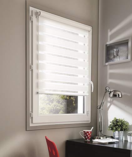 MADECOSTORE Double Store Enrouleur Jour Nuit Basic - Blanc - L65 x H160cm - Fixation avec ou sans perçage - Chaînette blanche