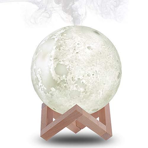 Humidificador de luz de luna, luz nocturna de luna con función de humidificador de niebla fría, 880 ml, difusor de aire de luz lunar de 3 colores, para el hogar, oficina, secado de otoño e invierno