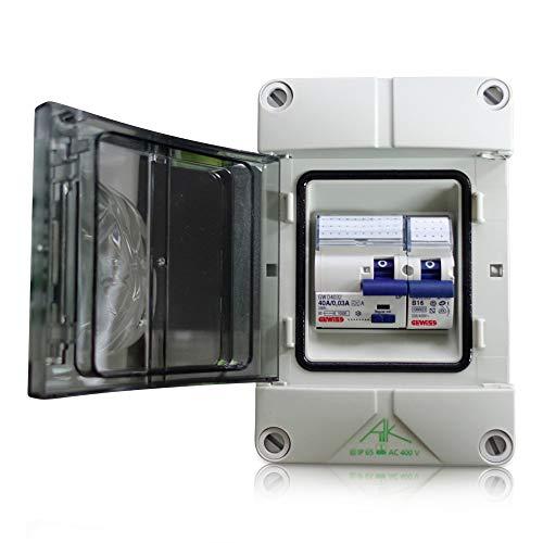 Anschlussfertiger Verteiler Stromanschluss für Camping, Garten und Garage mit FI Schalter 40A | 30mA sowie Leitungsschutzschalter B16A (Einbaugeräte Gewiss)