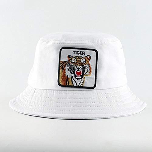 QIANWEIXI Gorros De Pescador Hombre Sombreros De Cubo De Moda Hombres Mujeres Sombrero De Pesca De Verano Bordado De Tiburón Animal Hip Hop Cap Hat Chapeau