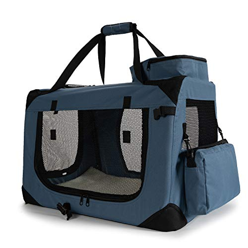 Zedelmaier Faltbare Hundebox Transportbox Hundekäfig mit verschiedenen Größen und Farben (M - 60 x42 x42 cm, Dunkelblau)