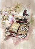 wanglin Puzzles Rompecabezas para Adultos 300 Piezas Mariposa en Libro Ensamblaje De Madera Rompecabezas Juguetes para Adultos Niños Juegos Educativos Juguetes 38x26cm