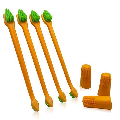 HOP Home of Paws Juego de 4 cepillos de dientes de doble cabeza con mango largo + 3 cepillos de dientes para perros y gatos para cuidado dental de cerdas suaves para mascotas