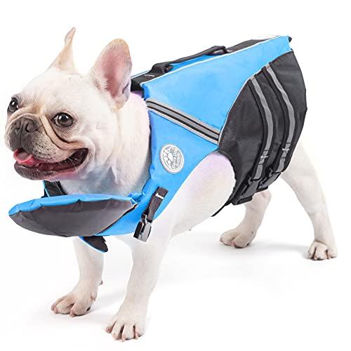 French Bulldog Life Jacket, Pet Life Vest, Dog Lifesaver Preserver with Handle & Reflective, for Swim, Pool, Beach, Boating