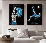 Póster de Pared de Cristiano Ronaldo, Pintura en Lienzo, Camiseta CR7, póster artístico de Superestrella de fútbol, impresión Vintage en Lienzo, 50x70cmx2 sin Marco