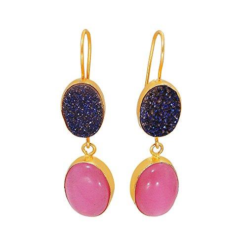 Bhagatjewels Hermosamente hechos a mano rosa calcedonia y bisel azul drusa juego de pendientes colgantes de doble piedra