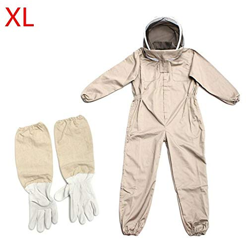 Hainter Bee Keeping Suit Professional Cotton Full Body Beekeeping Suit Protective Bee Keeping Jacket with Veil Hood, Leather Gloves, L/XL/XXL