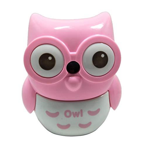 CITTATREND - Temperamatite meccaniche semi-automatiche, a forma di gufo, per bambini, scuola, ufficio, regalo per studenti, colore: rosa