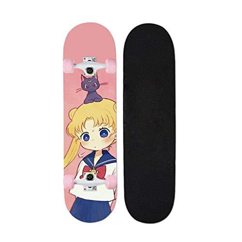 QINGQING Skateboards Komplettes Deck ABEC Lager Longboard Anime Serie Sailor Moon Cruiser Boards Für Erwachsene Anfänger 32 Zoll